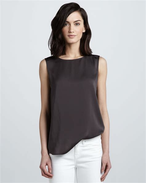 sleeveless top vince sleeveless silk top in black optic white lyst
