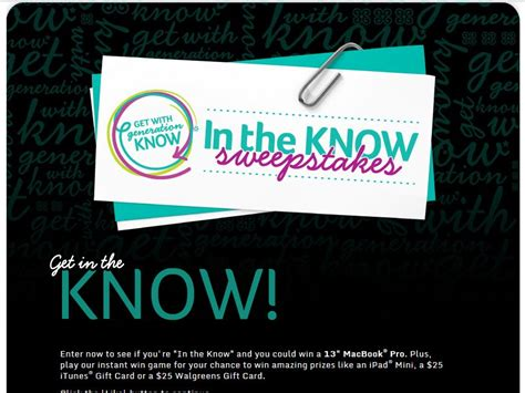 Walgreens Sweepstakes - walgreens in the know sweepstakes