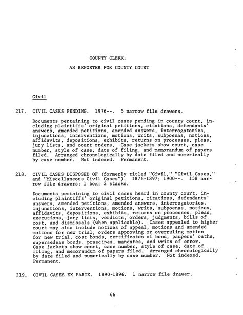 Georgetown County Court Records Inventory Of County Records Williamson County Courthouse Georgetown Page 66