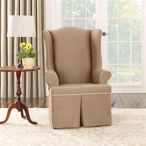 Sure Fit Wing Chair Recliner Slipcover by Shop Sure Fit Cocoa Duck Wing Chair Slipcover Free