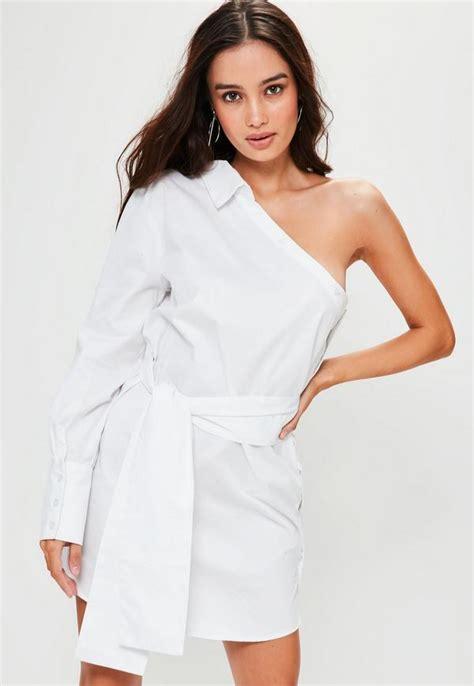 White One Shoulder Oblique Shirt white one shoulder unbutton shirt dress missguided