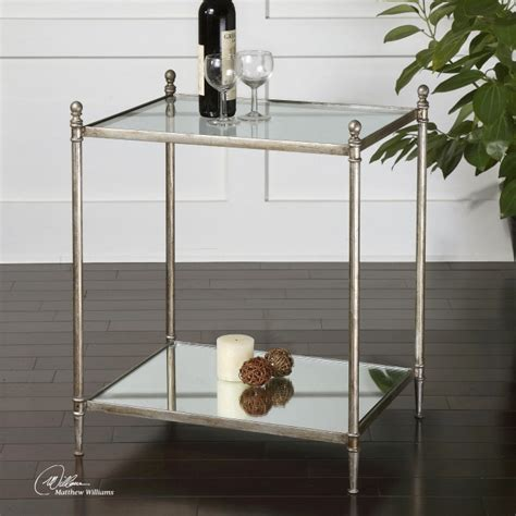 gannon mirrored glass end table from uttermost 24282