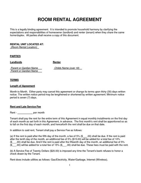 free room rental lease agreement template 10 best images of basic room rental agreement form