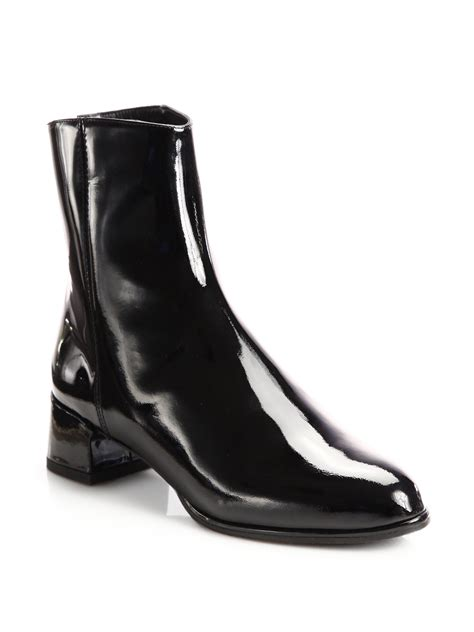 stuart weitzman patent leather ankle boots in black lyst