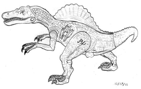 jp3 spinosaurus figure drawing by naveryw on deviantart