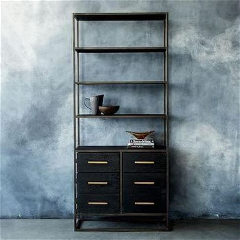 Wide Black Bookshelf Stainless Steel 5 Black Glass Shelves Flight Bookshelf