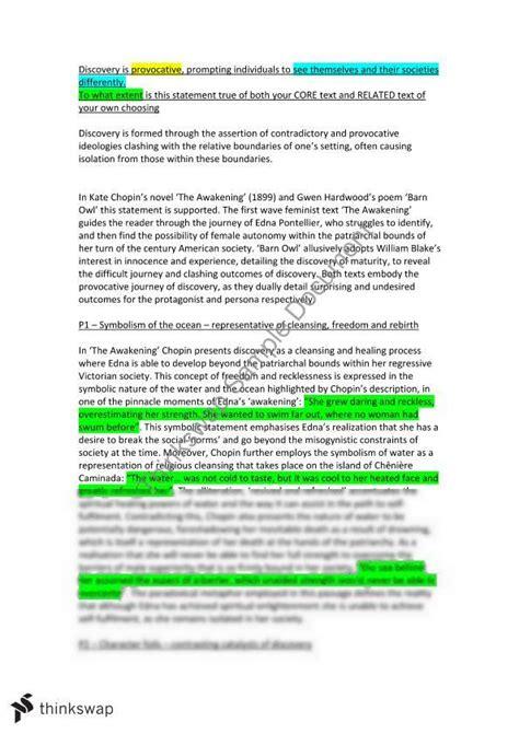The Awakening Essay Topics by Discovery Essay The Awakening Year 12 Hsc Advanced Thinkswap