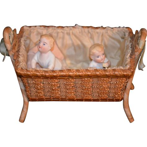Antique Doll Bisque Set In Old Wicker Crib Miniature Piano Wicker Baby Crib