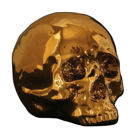 gold skull porcelain skull in gold by out there interiors