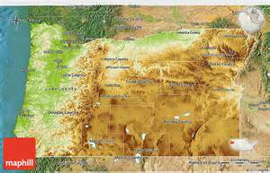 physical 3d map of oregon satellite outside