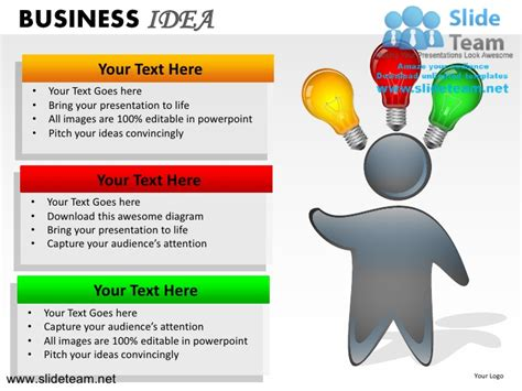 business idea presentation template business idea light bulb clicking shinning innovation