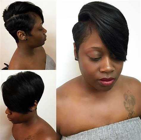 quick weave pixy cut with side sweep short pixie cut with side bangs hairstylegalleries com