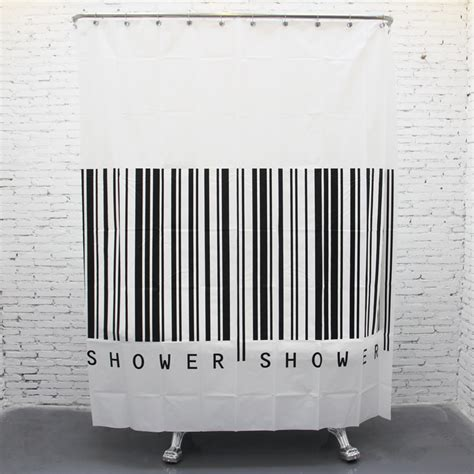 black and white vertical striped curtains fashion bar code design bathroom curtain waterproof shower