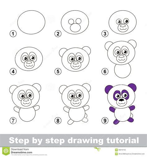 creare clipart drawing tutorial how to draw a panda stock vector