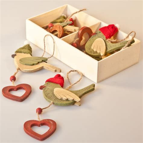 decorative ornaments for the home uk gisela graham christmas box set of 6 bird wooden christmas