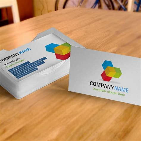 cube business card template colorful 3d cube logo creative and unique business card