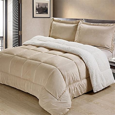 sherpa down alternative comforter set bed bath beyond