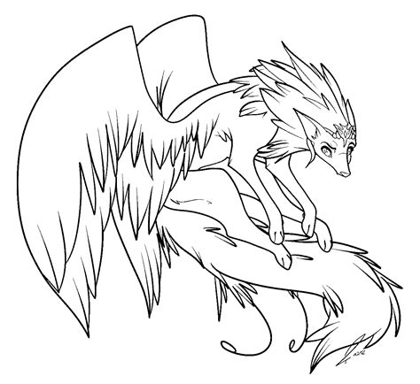 winged wolf coloring page winged wolf lines by jaclynonacloudlines on deviantart