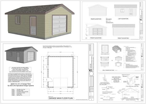 garage workshop plans g563 18 x 22 x 8 garage plans in pdf and dwg sds plans