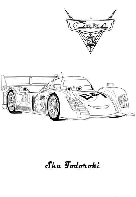 Cars 2 Coloring Pages by Cars 2 Shu Todoroki Race Car Printable Coloring Page