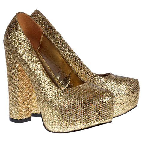 onlineshoe sparkly gold block heel concealed platform