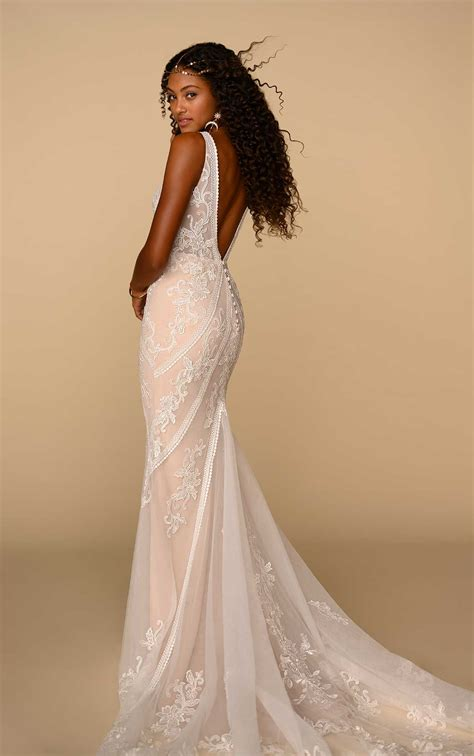 earthy bohemian wedding dress  floral lace