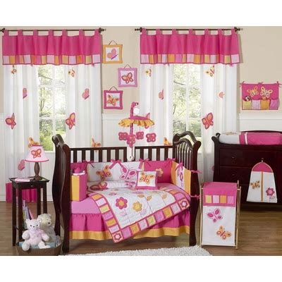 Butterfly Pink And Orange 9pc Crib Bedding Collection Pink And Orange Crib Bedding