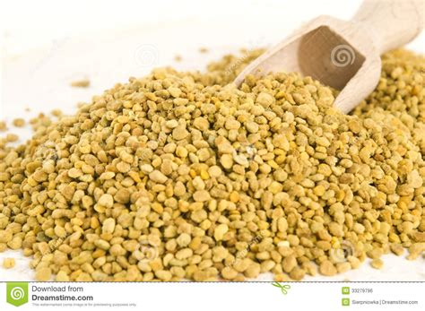 Vitamin Honey Bee Pollen bee pollen in wooden scoop royalty free stock image