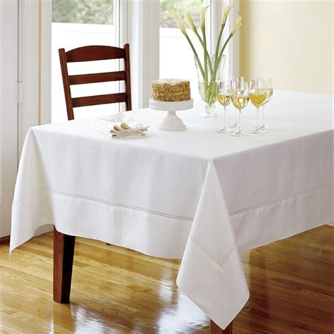 hemstitched linen tablecloth white traditional