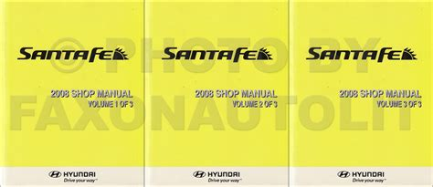 book repair manual 2007 hyundai santa fe head up 2008 hyundai santa fe repair shop manual 3 volume set original