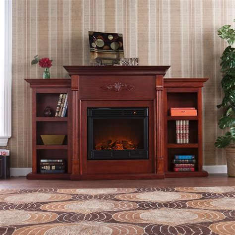 tennyson bookcase electric fireplace amazon com southern enterprises tennyson mahogany