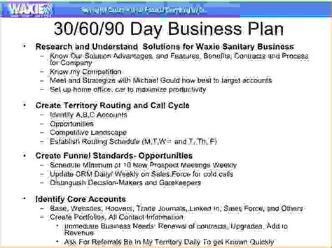 5 30 60 90 day sales plan templatereport template