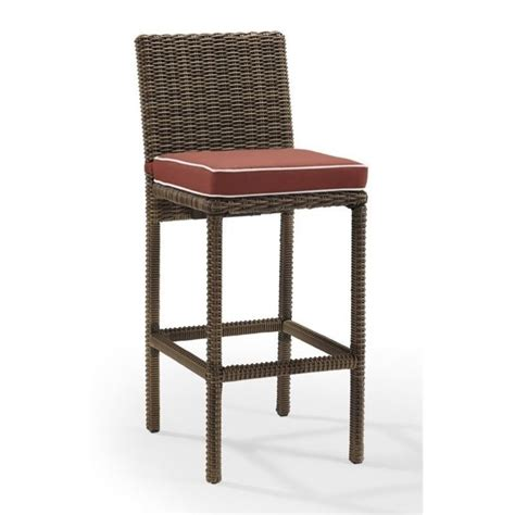 outdoor wicker bar stool crosley bradenton outdoor wicker bar stool with cushion