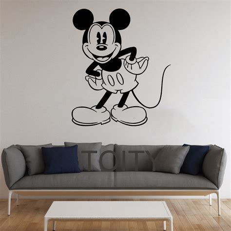 printable stencils for kids rooms black wall sticker mickey mouse cartoon for kids room