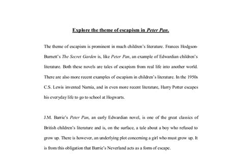 Escapism Essay by Explore The Theme Of Escapism In Pan A Level