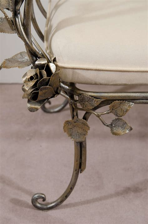 wrought iron butterfly bench vintage hand wrought iron bench with scroll arms and rose