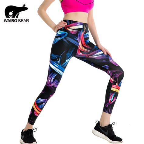 Abstract For Fitness Running 1 2017 fitness stretch ankle length slim colors 3d abstract print breathable