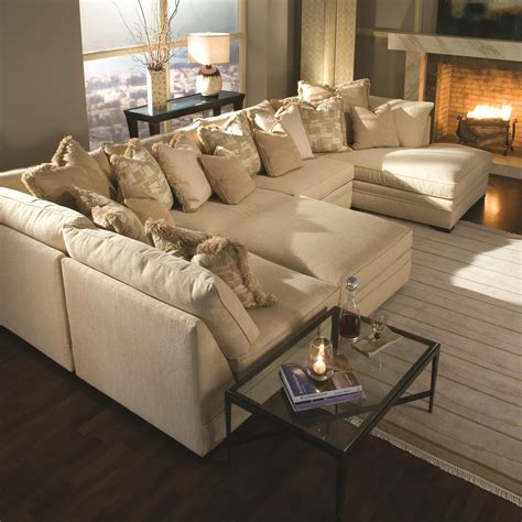 Light Brown U Shaped Sectional Sofa Bed With Ottoman And