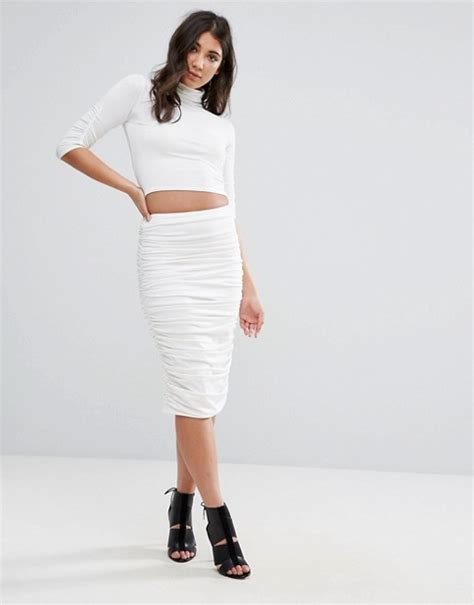 missguided missguided peace white ruched midi skirt