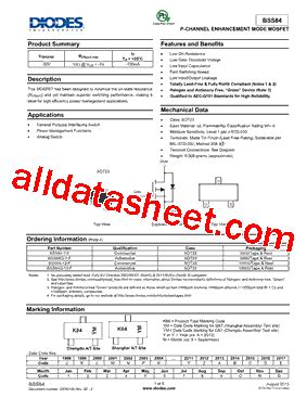 diodes inc bss84 bss84 13 f 데이터시트 pdf diodes incorporated