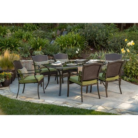 patio furniture at walmart better homes and gardens providence 7 patio dining set green seats 6 walmart