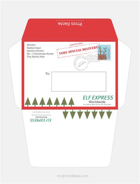 printable envelope template from santa letter from santa mr printables