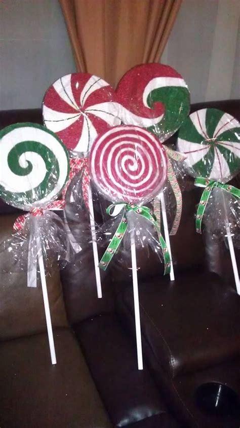 diy christmas lollipop path markers   styrofoam  dowel rods christmas pinterest