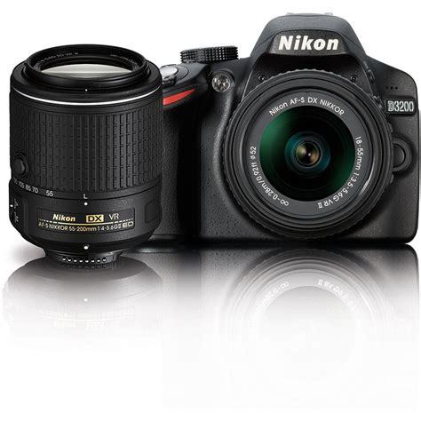 nikon d3200 dslr nikon d3200 dslr with 18 55mm and 55 200mm vr 13493 b h