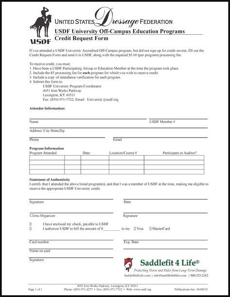 No Credit Form College Usdf Credit Request Form Schleese
