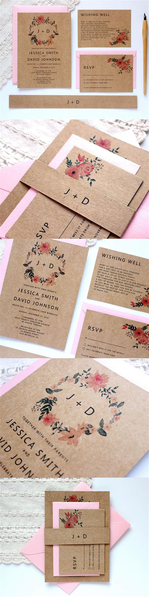 kraft wedding invitation with pink floral wreath by paper