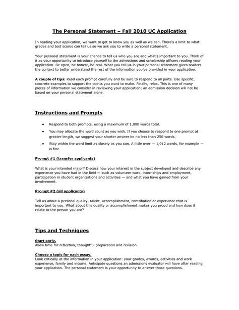 uc personal statement sle essay prompt 1 college essay prompt 1 exles berkeley application