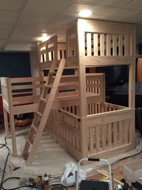 bunk bed with crib ana white triple bunk beds with crib diy projects