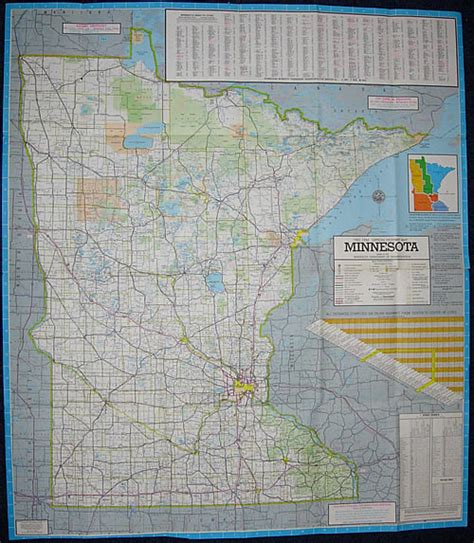 Route Drawer Map 1983 84 official highway map minnesota