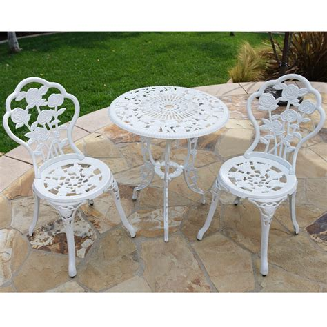 White Aluminum Patio Furniture Sets 3pcs Outdoor Patio Furniture Cast Aluminum Bistro Set Table Antique Bronze White Ebay